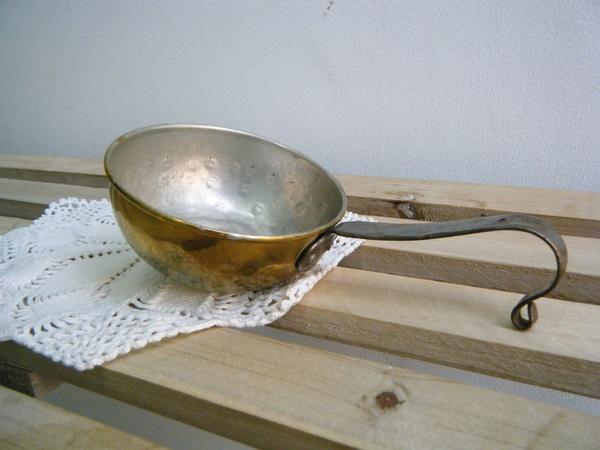 スウェーデン 真鍮ミルクパン 鉄ハンドル