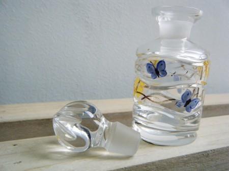 アウトレット品 チェコ ボヘミアガラス香水ボトル(バタフライ)