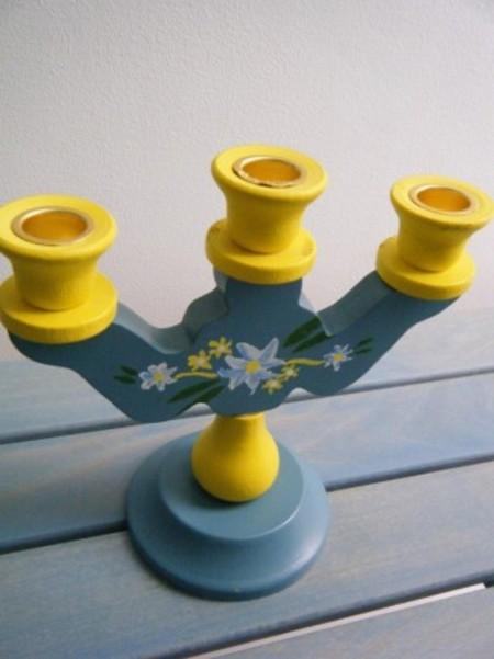 スウェーデン 木製キャンドルホルダー C3連 (ヴィンテージ品)