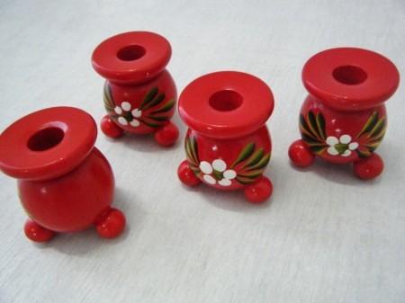 スウェーデン 木製キャンドルホルダー Traditional style白花 (NEW)
