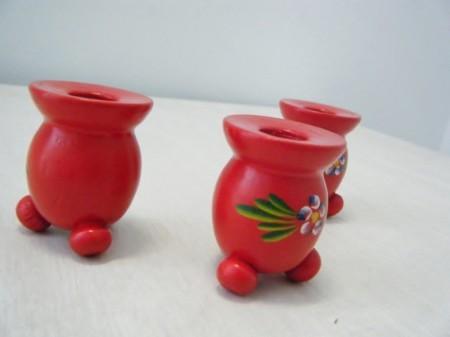 スウェーデン 木製キャンドルホルダー Traditional style青花(used)
