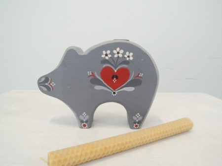 スウェーデン 木製キャンドルホルダー 豚