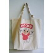 ロシア 白いチェブラーシカのトートバッグ