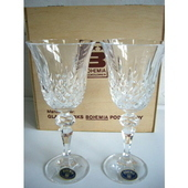 チェコスロバキア ボヘミアンワイングラスセット(木箱入り)