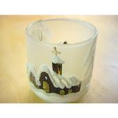 チェコのクリスマスキャンドルホルダー ホワイトグラス(茶)
