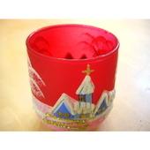 チェコのクリスマスキャンドルホルダー レッドグラス(ブルー)