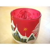 チェコのクリスマスキャンドルホルダー レッドグラス(グレー)